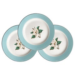 Set of 3 Ceramic Magnolia Floral Motif Dessert Plates in Pale Blue and Silver