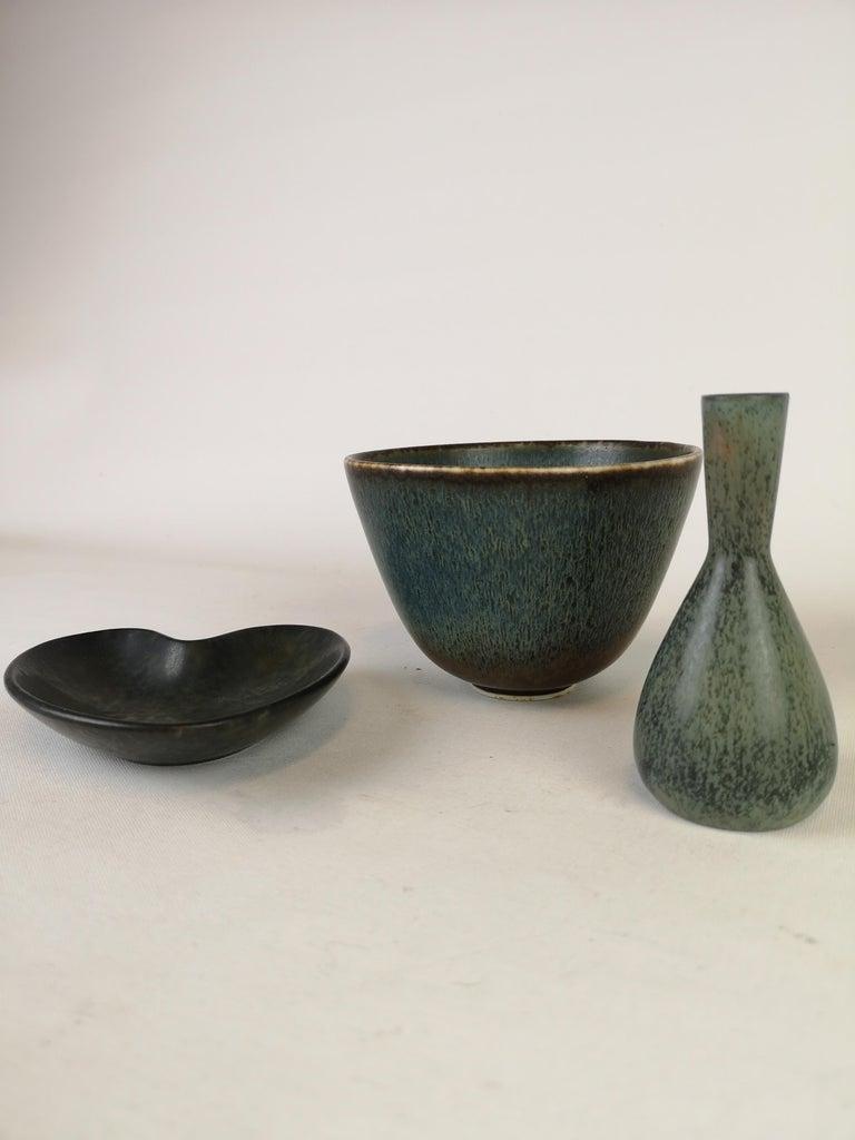Mid-Century Modern Set of 3 Ceramic Pieces Rörstrand Gunnar Nylund, Sweden, 1950s For Sale
