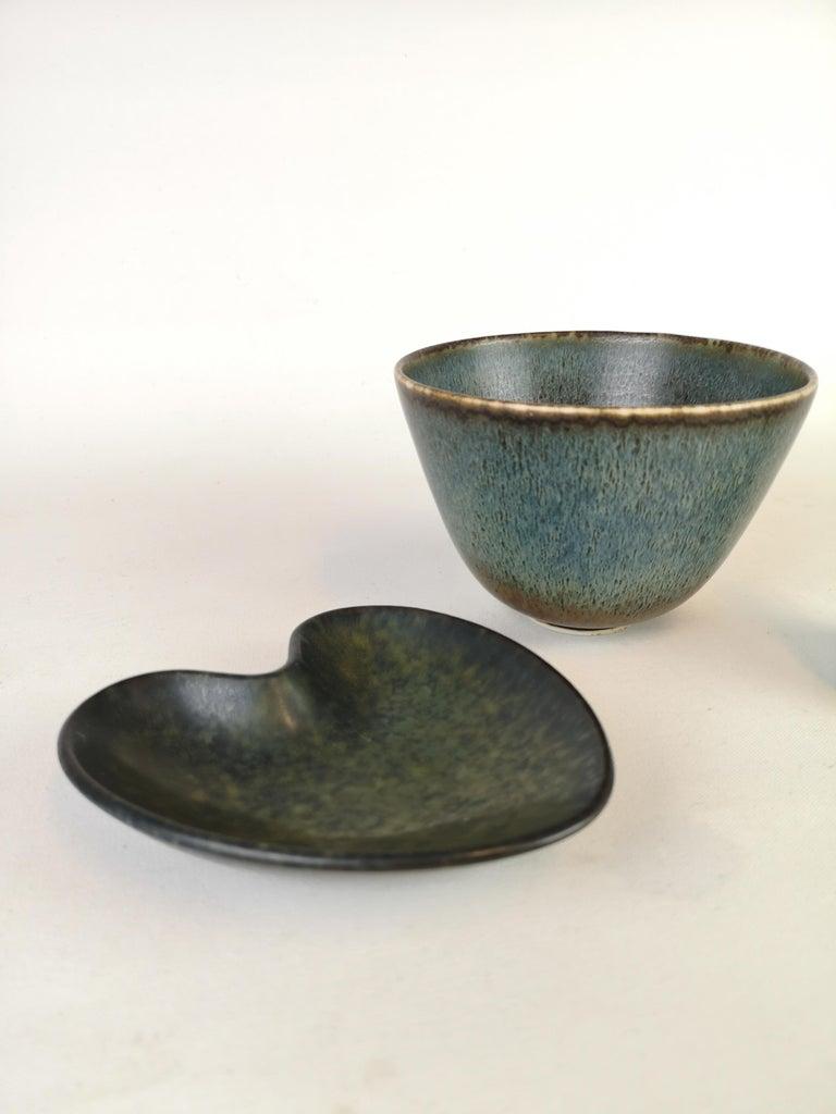 Swedish Set of 3 Ceramic Pieces Rörstrand Gunnar Nylund, Sweden, 1950s For Sale