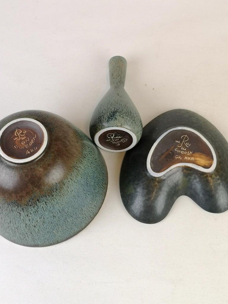 Set of 3 Ceramic Pieces Rörstrand Gunnar Nylund, Sweden, 1950s For Sale 3