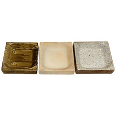 Set of 3 Ceramic Plates by Pierre Digan, to La Borne, circa 1970