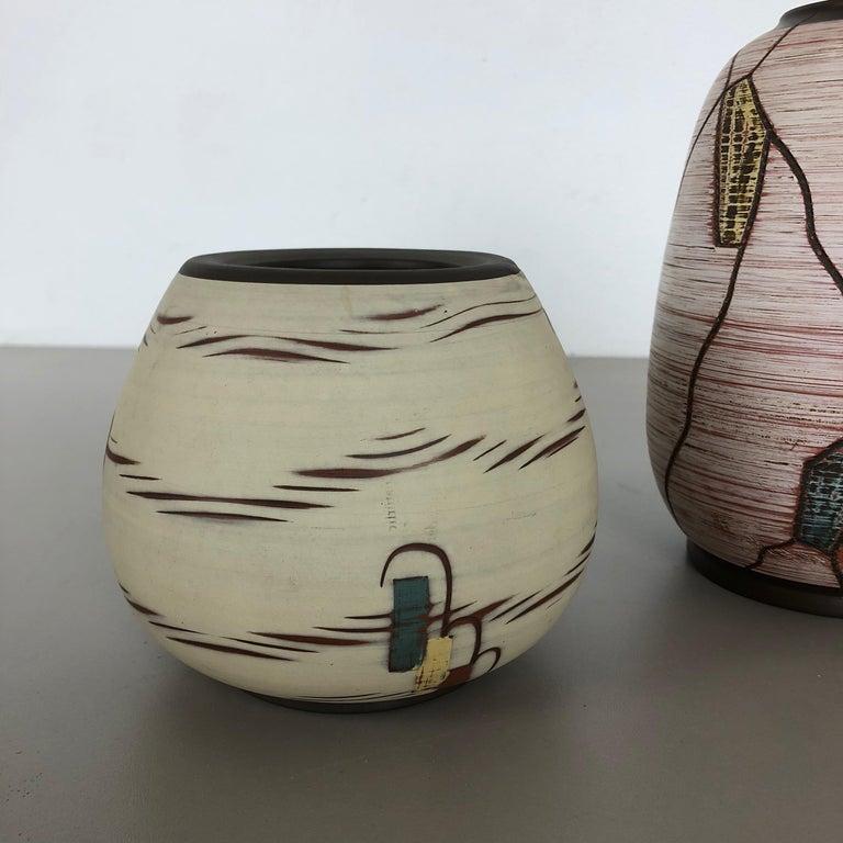Set of 3 Ceramic Pottery Vase by Sawa Ceramic Franz Schwaderlapp, Germany 1960s For Sale 6