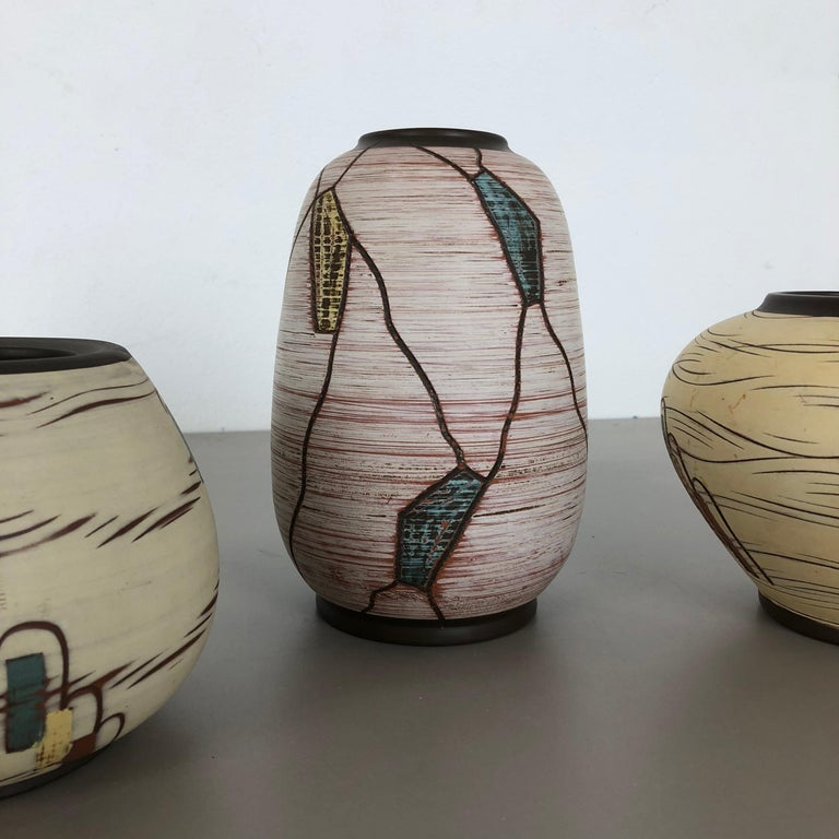 Set of 3 Ceramic Pottery Vase by Sawa Ceramic Franz Schwaderlapp, Germany 1960s For Sale 7