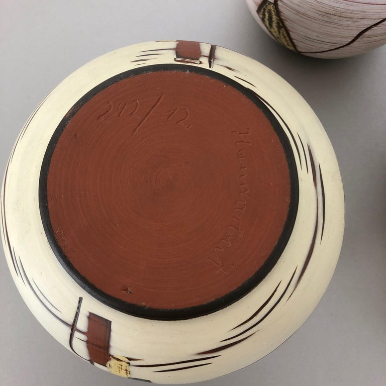 Set of 3 Ceramic Pottery Vase by Sawa Ceramic Franz Schwaderlapp, Germany 1960s For Sale 8