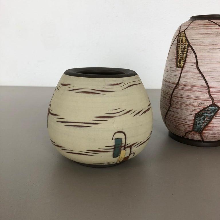 Set of 3 Ceramic Pottery Vase by Sawa Ceramic Franz Schwaderlapp, Germany 1960s In Good Condition For Sale In Kirchlengern, DE