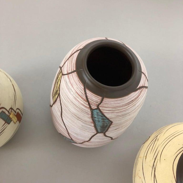 Set of 3 Ceramic Pottery Vase by Sawa Ceramic Franz Schwaderlapp, Germany 1960s For Sale 3