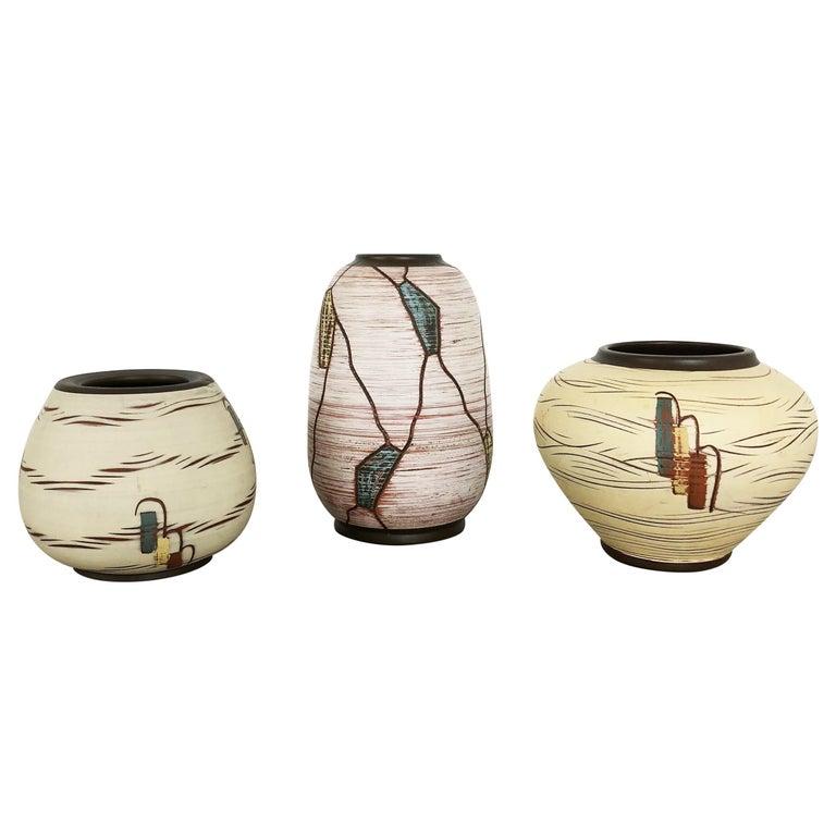 Set of 3 Ceramic Pottery Vase by Sawa Ceramic Franz Schwaderlapp, Germany 1960s For Sale