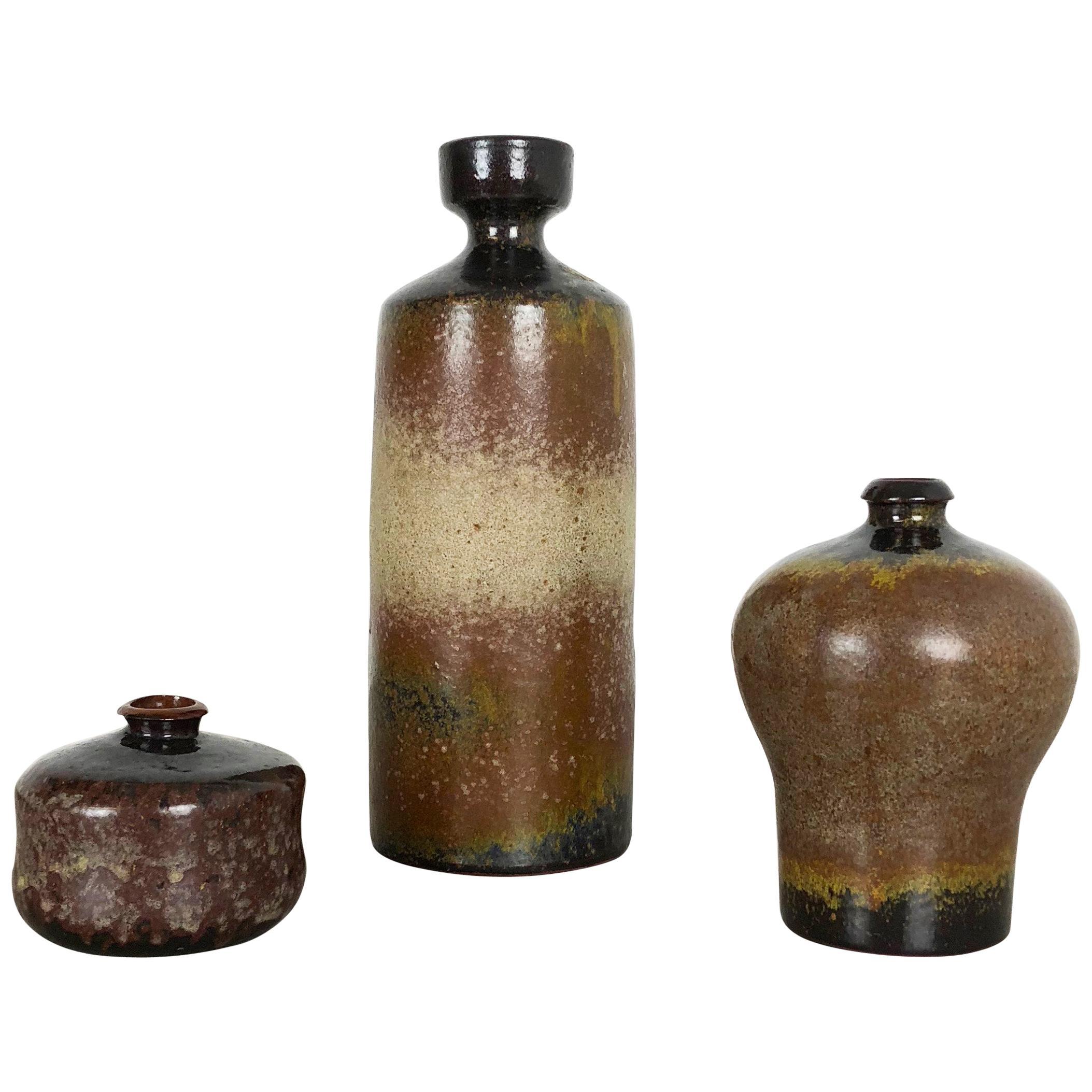 Set of 3 Ceramic Studio Pottery Vase by Elmar and Elke Kubicek, Germany, 1970