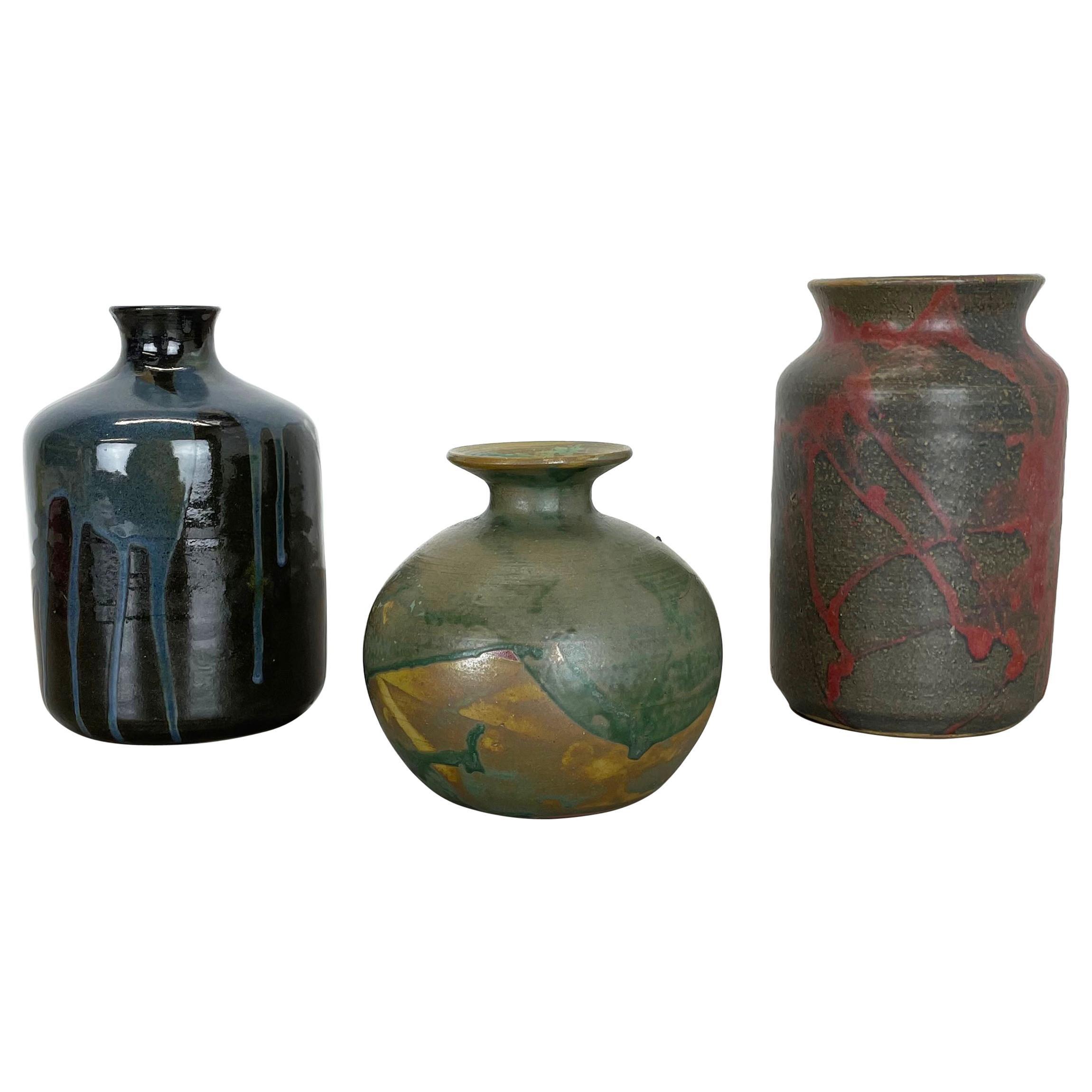 Set of 3 Ceramic Studio Pottery Vase by Elmar & Elke Kubicek, Germany, 1970s