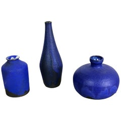 Set of 3 Ceramic Studio Pottery Vase by Gerhard Liebenthron, Germany, 1960s