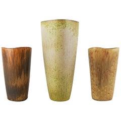 Set of 3 Ceramic Vases Gunnar Nylund Rörstrand Sweden