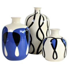 Set of 3 Ceramic Vases with Nautical Motifs, Bouteilles Rondes