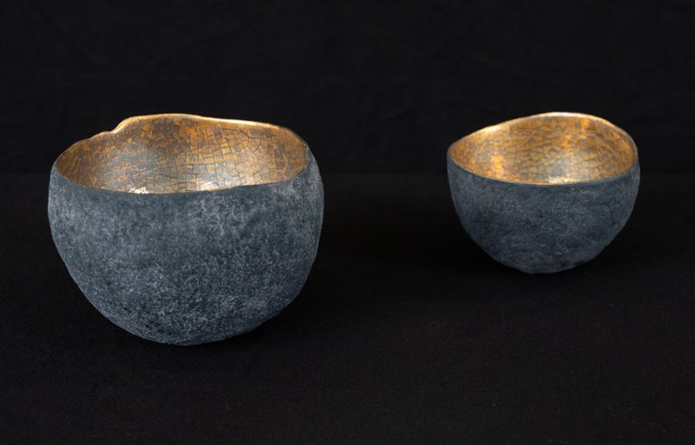 Fired Set of 3 Ceramics with Gold and Platinum For Sale