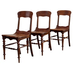 Set of 3 Chairs, Bent Plywood, Early 20th Century