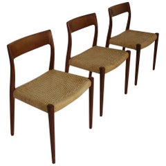 Set of 3 Chairs Model 77 by Niels O. Møller in Teak and Paper Cord, 1950s