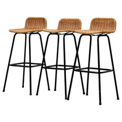 Set of 3 Charlotte Perriand Style Bar Stools