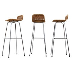 Set of 3 Charlotte Perriand Style Wicker Bar Stools