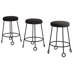 Set of 3 Chic Wrought Iron and Boucle Counter Stools