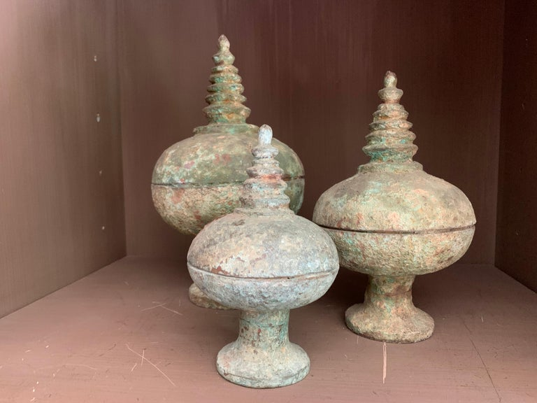 Set of 3 Chinese Bronze Ritual Cups For Sale 6