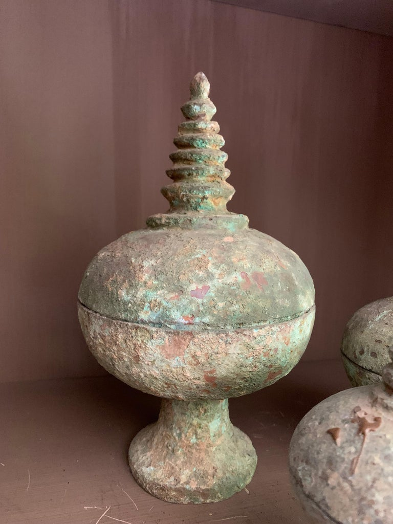 19th Century Set of 3 Chinese Bronze Ritual Cups For Sale