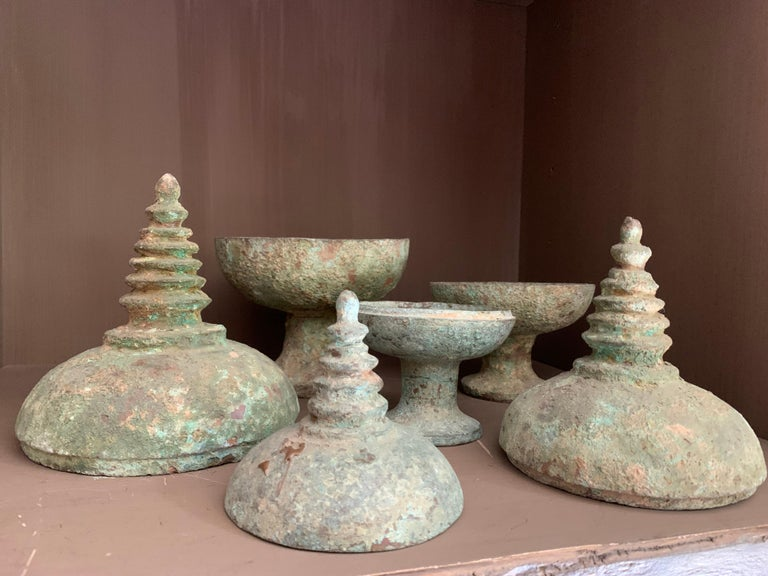 Set of 3 Chinese Bronze Ritual Cups For Sale 1