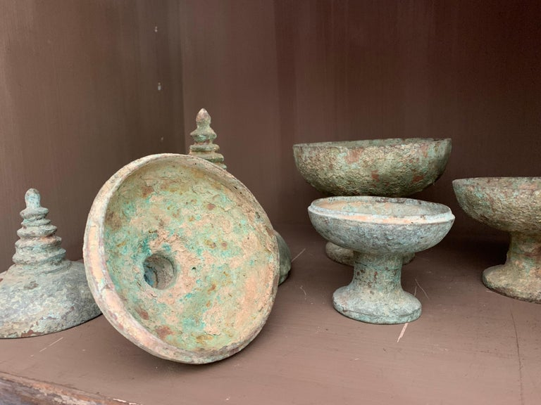 Set of 3 Chinese Bronze Ritual Cups For Sale 4