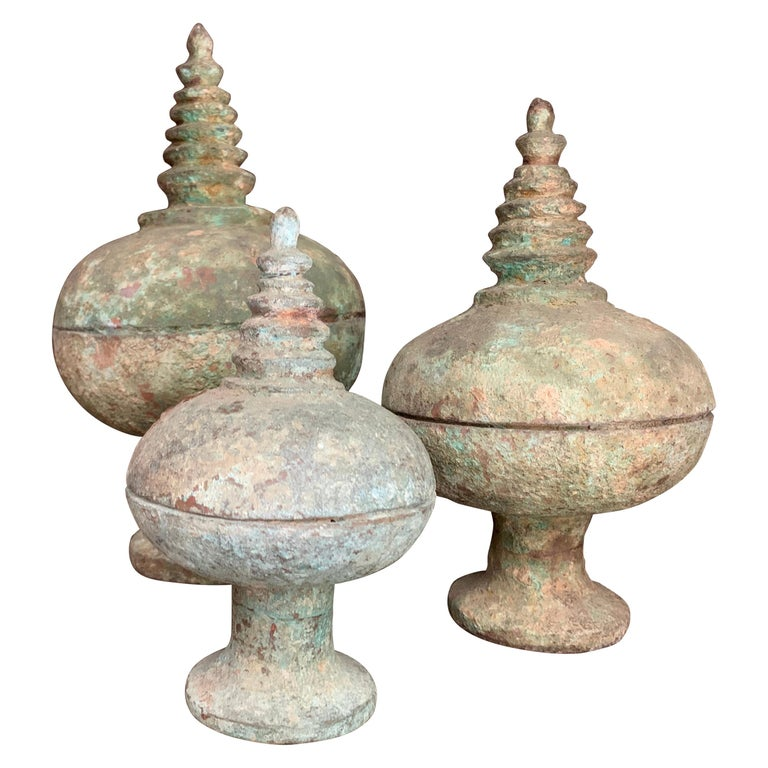 Set of 3 Chinese Bronze Ritual Cups For Sale