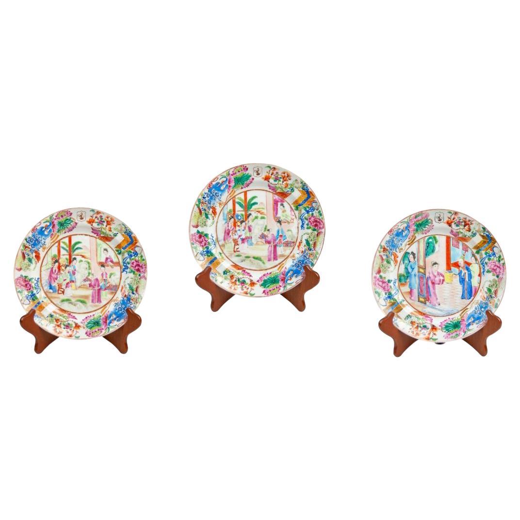 Set of 3 Chinese Export Rose Mandarin Armorial Plates, Canton, circa 1820