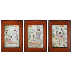 Set of 3 Chinese PRoC Ladies Leisure Porcelain plaques 1970s or 1980s