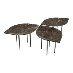 Set of 3 Chio Coffee Tables in Brown Damasco Marble