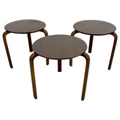 Set of 3, Classic Bentwood Tables, Modernist, Made in Denmark