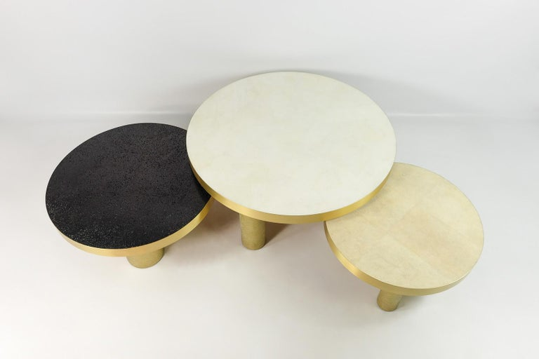 Modern Set of 3 Coffee Tables in Rock Crystal, Shagreen and Lava Stone by Ginger Brown For Sale