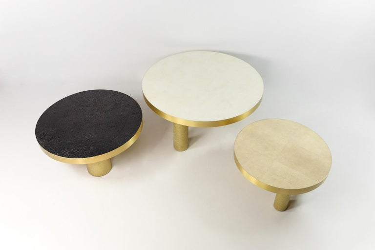 French Set of 3 Coffee Tables in Rock Crystal, Shagreen and Lava Stone by Ginger Brown For Sale