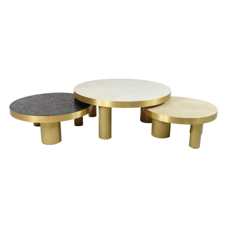 Set of 3 Coffee Tables in Rock Crystal, Shagreen and Lava Stone by Ginger Brown For Sale