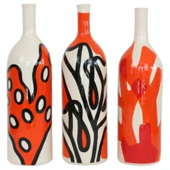 Set of 3 Contemporary Ceramic Bottles with Nautical Motifs, Corail