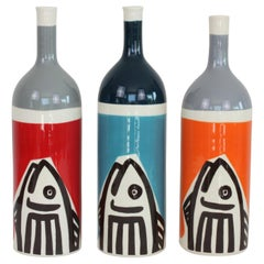 Set of 3 Contemporary Ceramic Bottles with Nautical Motifs, Poisson