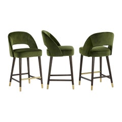 Set of 3 Contemporary Counter-Height Stool Crafted with Green Velvet
