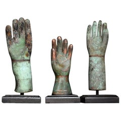Set of 3 Copper and Bronze Sculptural Glove Mold Forms