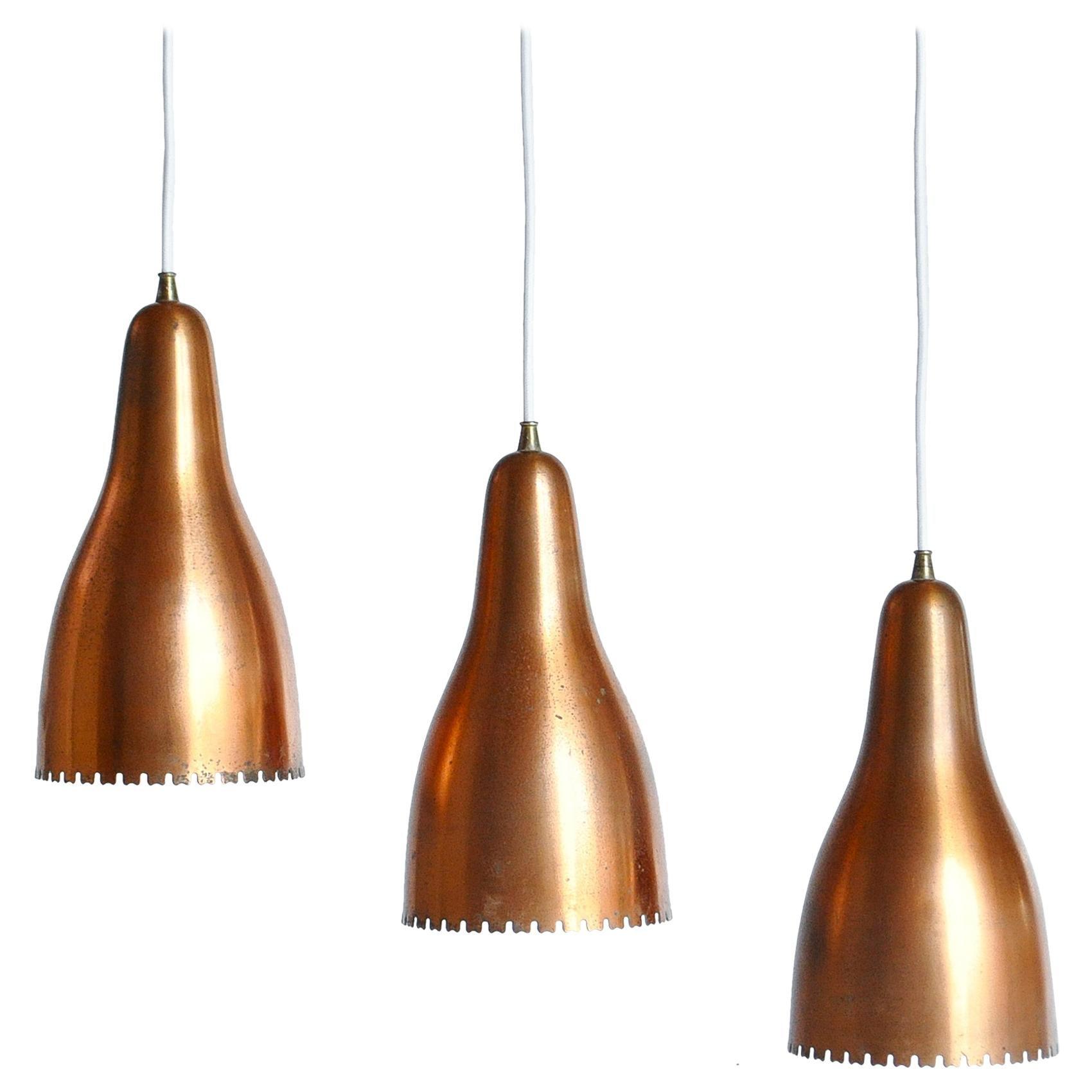 Set of 3 Copper Bell Ceiling Pendants by Bent Karlby, Lyfa, Copenhagen, 1960s