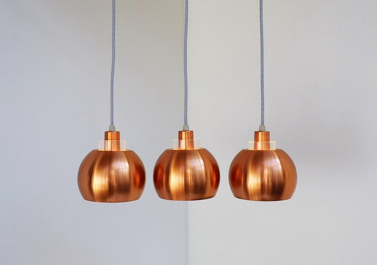 Lacquered Set of 3 Copper Pendants, Classic Danish Vintage Design from the 1960s For Sale
