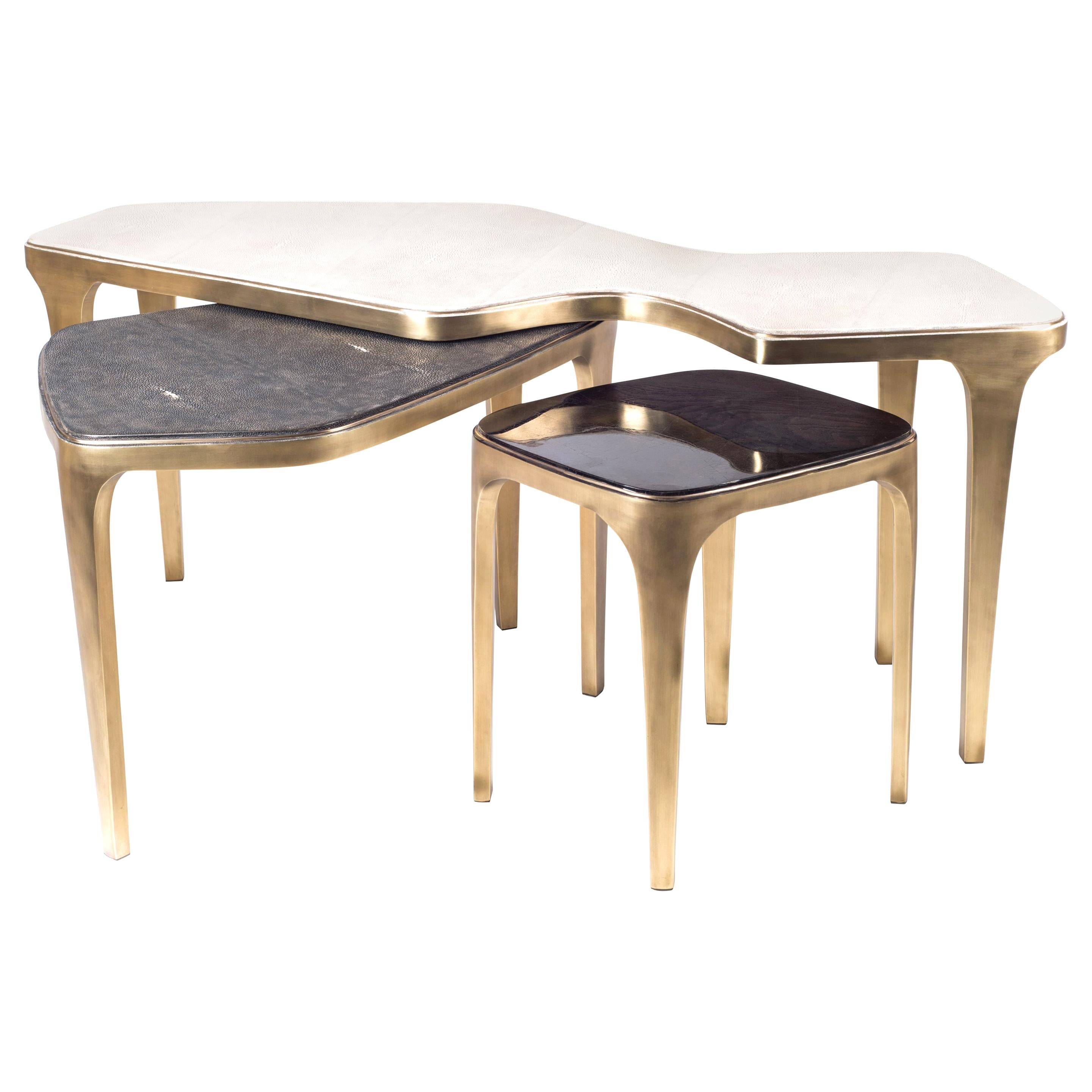 Set of 3 Cosmos Nesting Coffee Tables in Shagreen, Shell & Brass R&Y Augousti