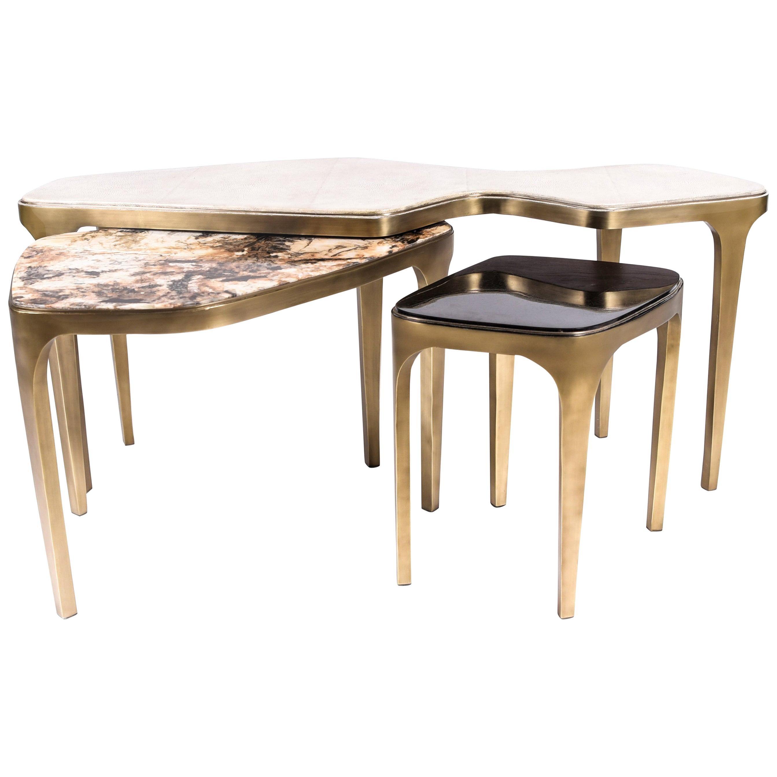 Set of 3 Cosmos Nesting Coffee Tables in Shagreen, Shell & Hwana R & Y Augousti