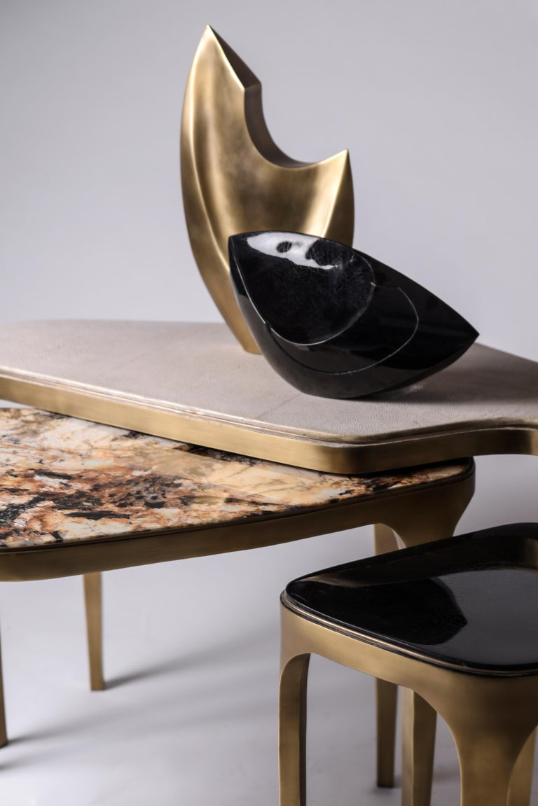 Hand-Crafted Set of 3 Cosmos Nesting Coffee Tables in Shagreen, Shell & Hwana R&Y Augousti For Sale