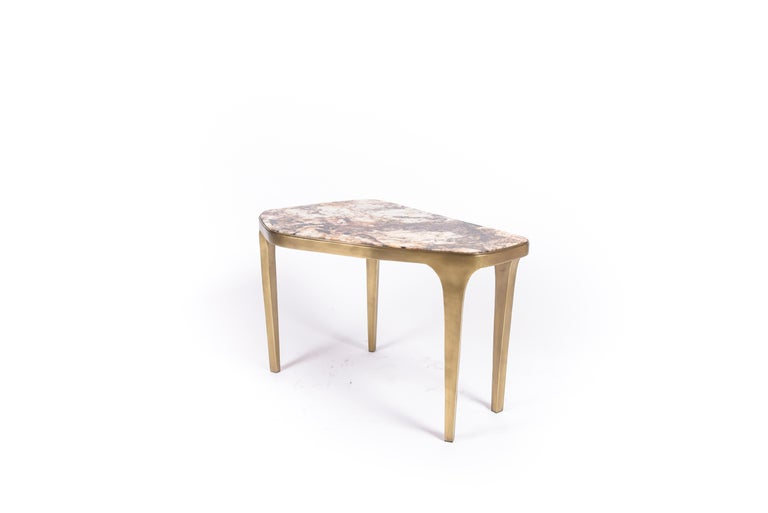Brass Set of 3 Cosmos Nesting Coffee Tables in Shagreen, Shell & Hwana R&Y Augousti For Sale