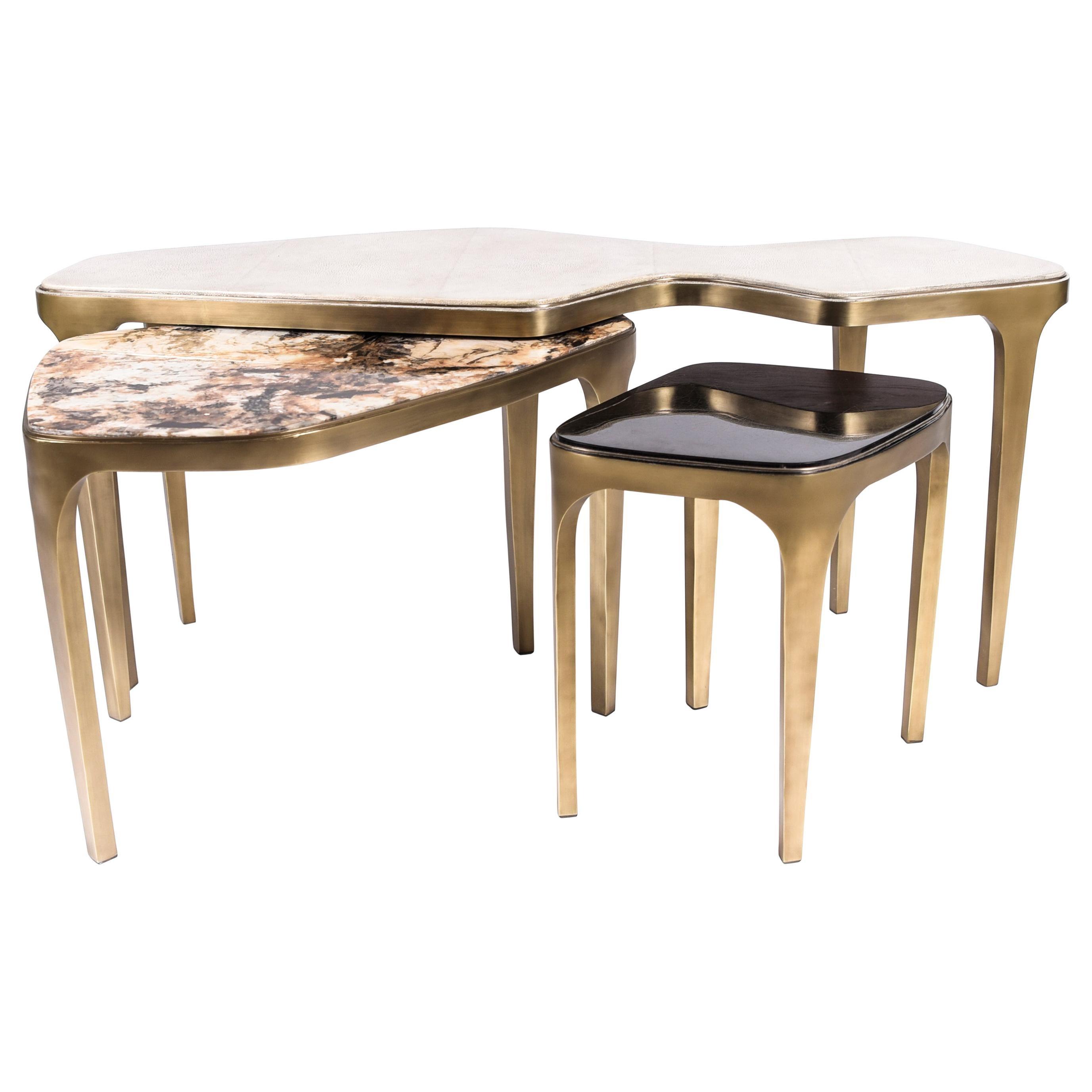 Set of 3 Cosmos Nesting Coffee Tables in Shagreen, Shell & Hwana R&Y Augousti