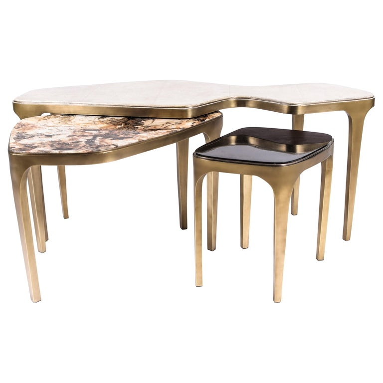 Set of 3 Cosmos Nesting Coffee Tables in Shagreen, Shell & Hwana R&Y Augousti For Sale