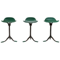 Set of 3 Counter-Height Swivel Stools, Leather, Brass by P. Tendercool