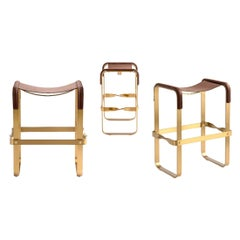 Set of 3 Counter Stool, Contemporary Design, Aged Brass & Dark Brown Leather