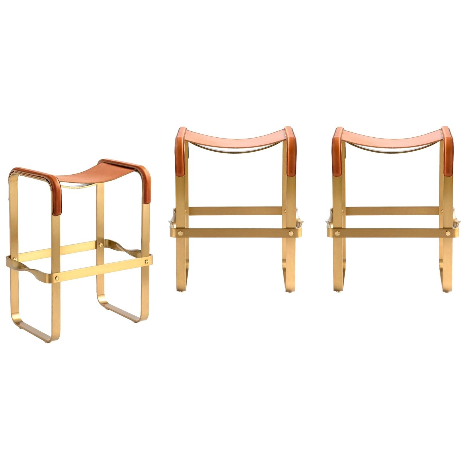 Set of 3 Counter Stool Contemporary Design, Aged Brass & Natural Tobacco Leather