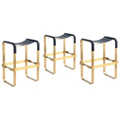Set of 3 Counter Stool Contemporary Design, Aged Brass & Navy Blue Leather